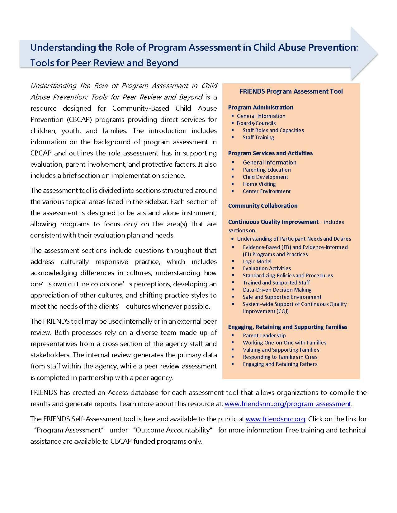 Fact Sheet On Program Assessment