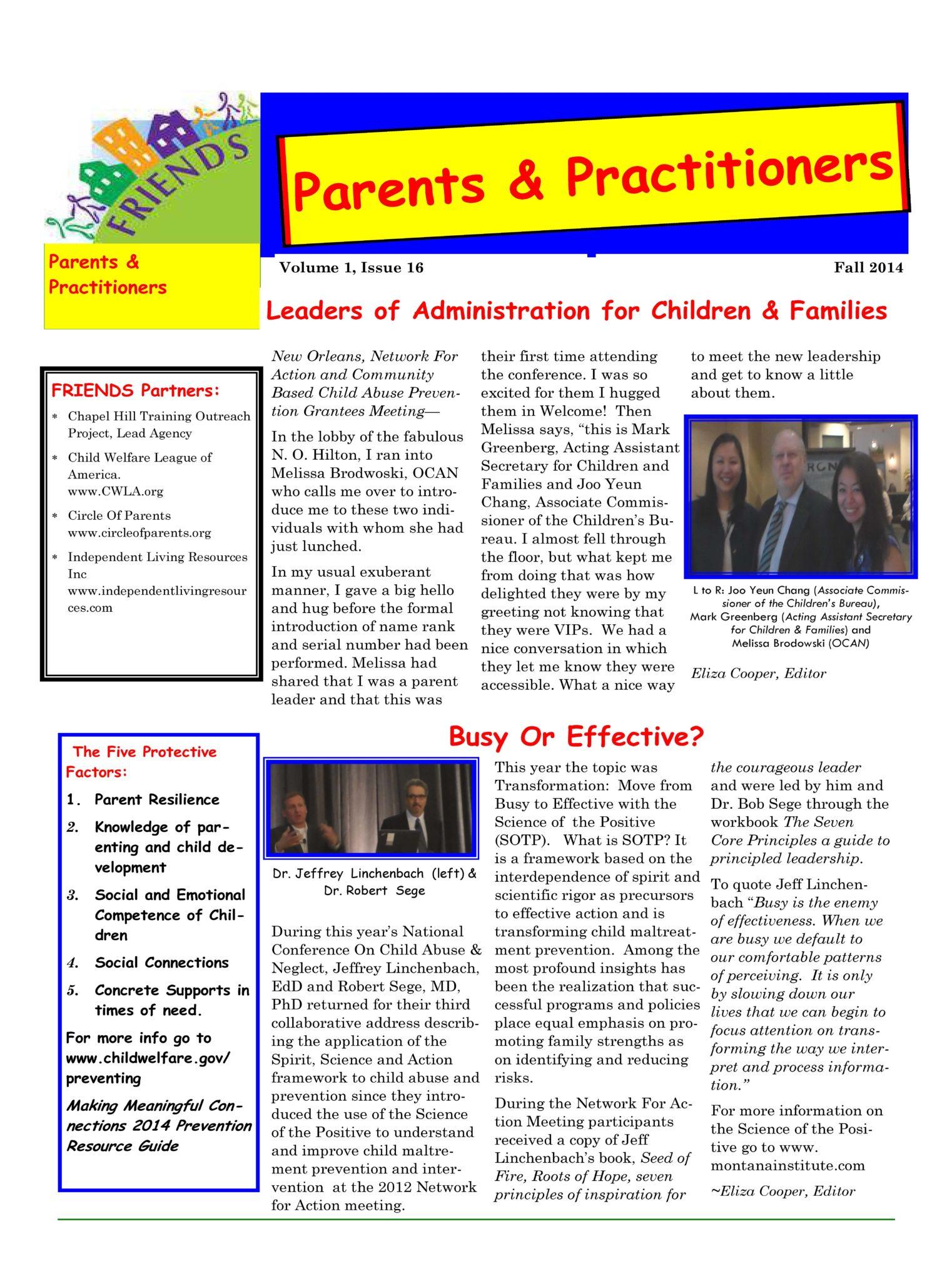 Parent & Practitioner Newsletter Fall 2014