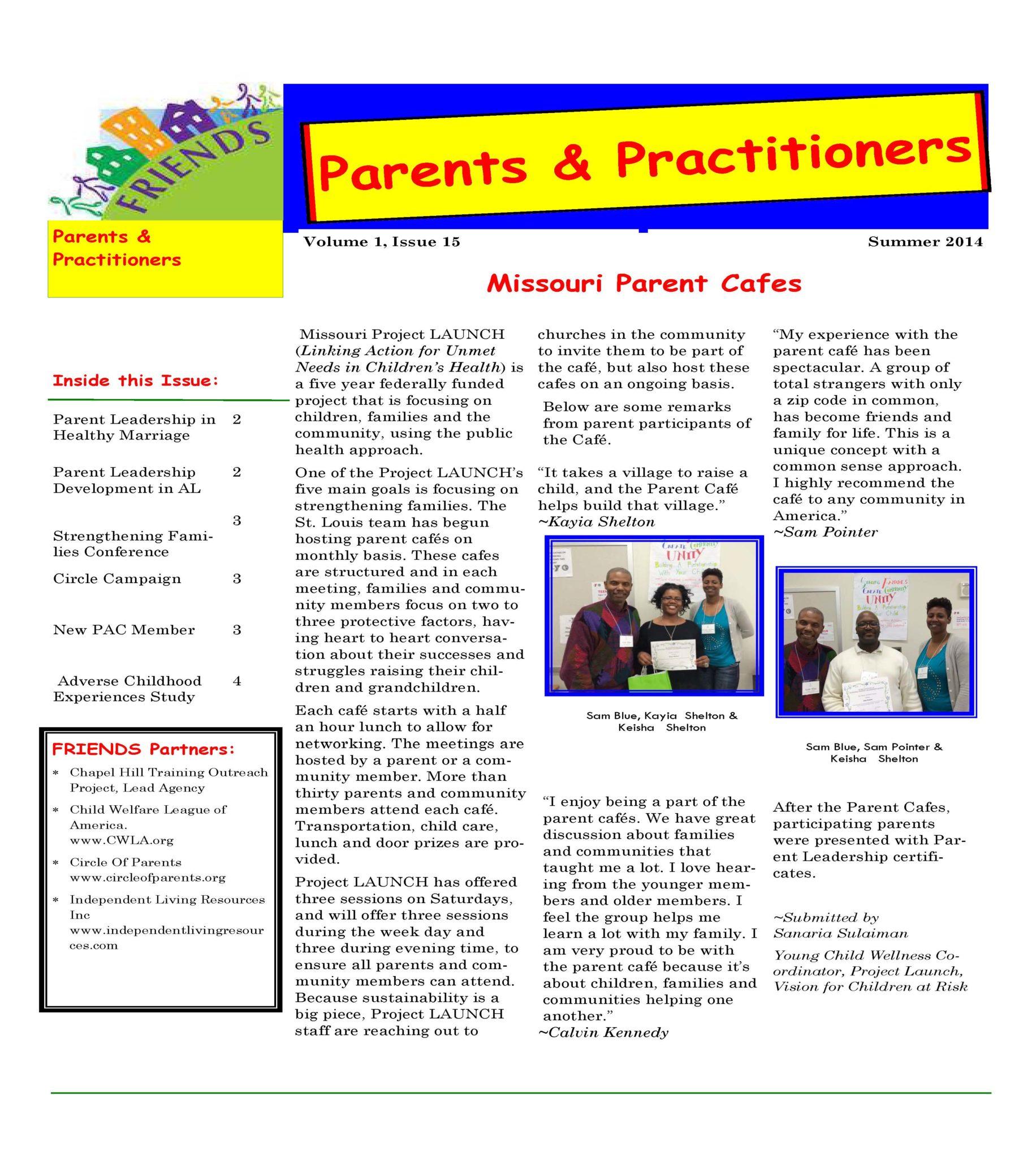 Parent And Practitioner Newsletter Summer 2014