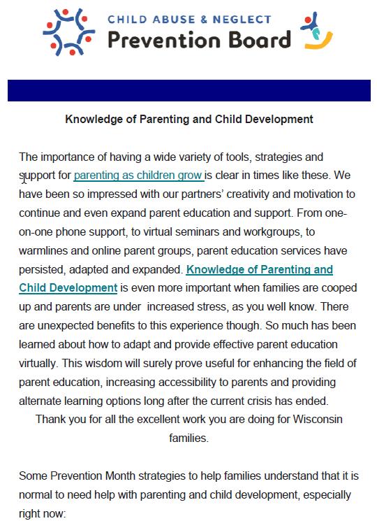Wisconsin NCAPM Newsletter Knowledge Of Parenting Child Development