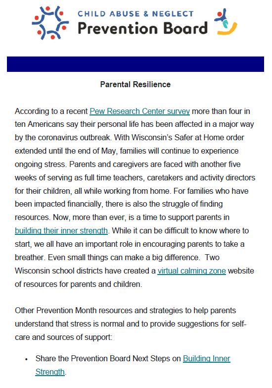 Wisconsin NCAPM Newsletter Parental Reslilence